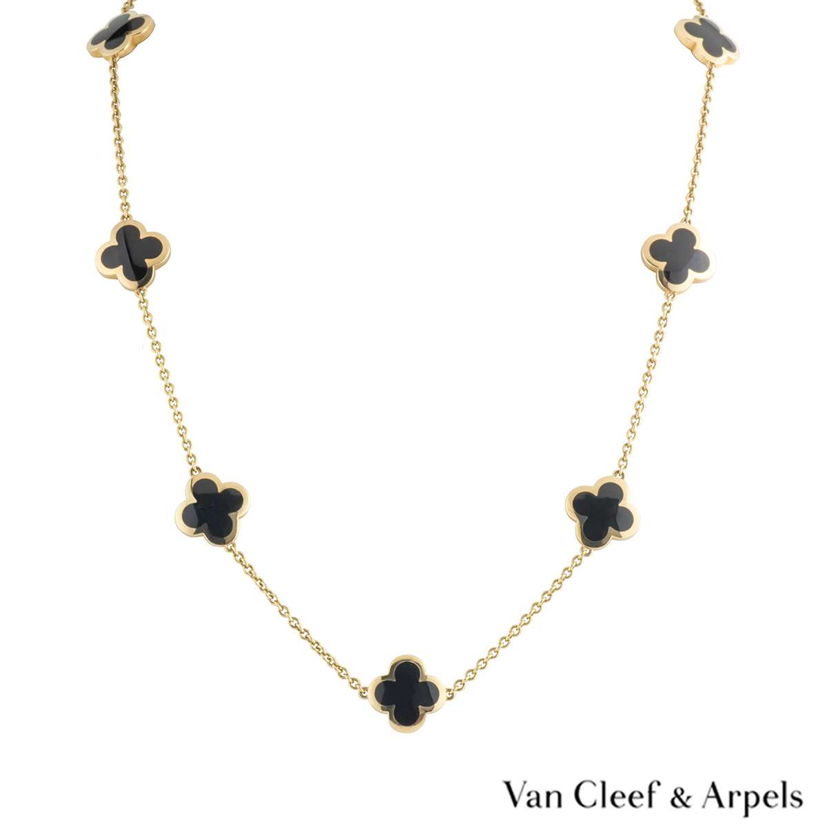 Van Cleef & Arpels Yellow Gold and Onyx Pure Alhambra Necklace